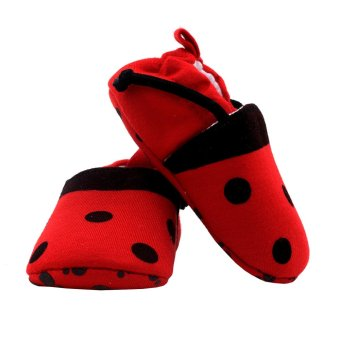 BABY STEPS Lady Bee Baby Girl Cotton Shoes (Red) - 3