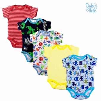 Baby Steps Onesie 3 Months Baby Boy Bodysuit One-Piece (Multicolor)Set of 5