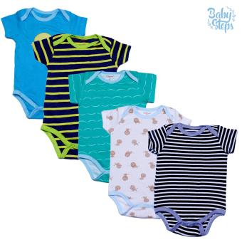 Baby Steps Onesie 6 Months Baby Boy Bodysuit One-Piece (Multicolor)Set of 5
