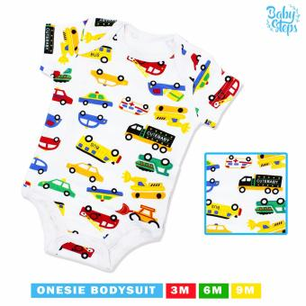 Baby Steps Onesie Cute Baby Cars Bodysuit 3 Months Baby BoyBodysuit (Multicolor)