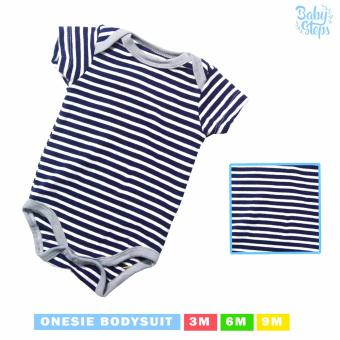Baby Steps Onesie Pattern Stripes Bodysuit 0-3 Months Baby BoyBodysuit (Dark Blue)