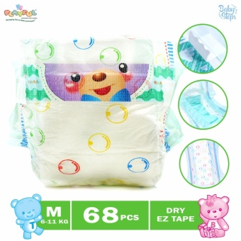 Baby Steps Playful Baby Diaper Clothlike Dry EZ Tape with Aloe Vera 68's Medium