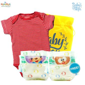 Baby Steps Playful Baby Disposable Diapers 2 Pieces (Small) with Baby Baby Steps Onesie Stripes Bodysuit 3 Months Baby Boy Bodysuit (Red)