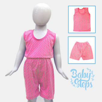 BABY STEPS Polka Bloom Baby Clothes Girl Clothing Sets (Pink)