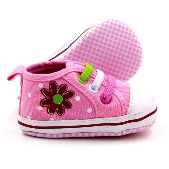 Baby Steps Polka Flower Baby Girl Shoes (Pink) - 3
