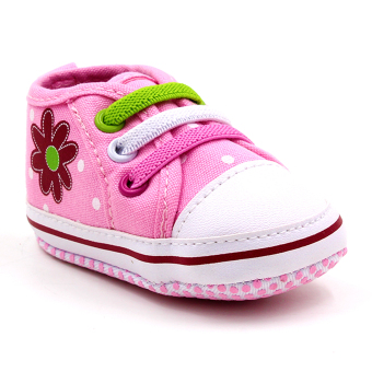 Baby Steps Polka Flower Baby Girl Shoes (Pink)