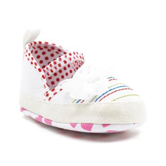 Baby Steps Polkaline Ribbon Baby Girl Shoes (White)