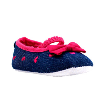 BABY STEPS Ribbon Hearts Baby Girl Shoes (Hot Pink)