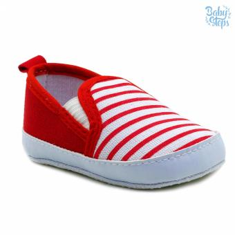 Baby Steps Stripes Baby Boy Shoes (Red)