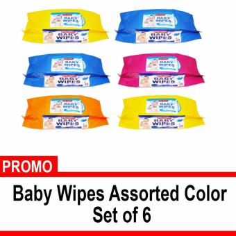 Baby Tender Baby Wipes Set of 6 assorted color
