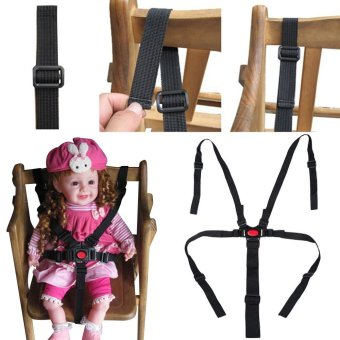 Baby Toddler Cabinet Locks Straps Portable Babies Chair StrollerFive-Point Safety Belt(Black) - intl