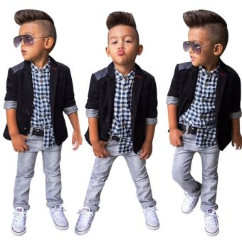 Baby Toddler Clothing Sets 3Pcs Casual Turn Down Collar Long SleeveBlazer Plaid Shirt Denim Pants For Boys(As The Picture)(Size:2T) -intl