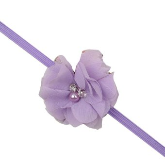 Baby Toddler Infant Chiffon Pearl Flower Hair Band Cute Soft Crystal Fabric Headbands Light Purple - Intl