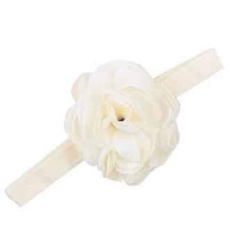 Baby Toddler Infant Flower Shape Headbands Hair Band Soft Fabric Headwear Simple Accessories Beige - Intl
