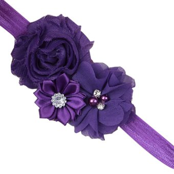 Baby Toddler Pearl Chiffon Flower Headbands Hair Band Infant Fabric Cute Soft Accessories Dark Purple - Intl