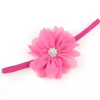 Baby Toddler Wave Shape Flower Crystal Headbands Hair Band Decor Cute Soft Fabric Headwear Rose Red - Intl
