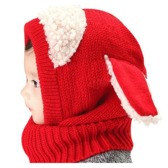 Baby Toddler Winter Beanie Warm Hat Hooded Scarf Earflap Knitted Cap(Red) - Intl
