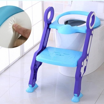 Baby Toilet Trainer Safety Seat Chair Step with Adjustable LadderInfant Toilet Training Folding Seat Urinal Seating Potties - intl