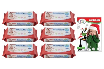Baby Wipes Water Base Refill 82's Pack of 6 w/ Free 1 Brainy Baby DVD (Jingle Bells)