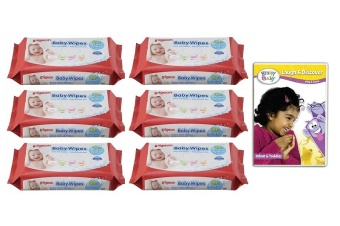 Baby Wipes Water Base Refill 82's Pack of 6 w/ Free 1 Brainy Baby DVD (Laugh & Learn)