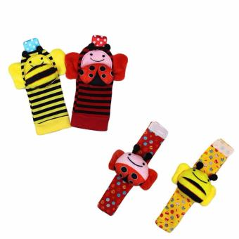 Baby Wrist Rattles And Foot Finder Set Soft Toys - Bee And Ladybug Price Philippines