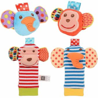 Baby Wrist Rattles And Foot Finder Set Soft Toys - Elephant AndMonkey Price Philippines