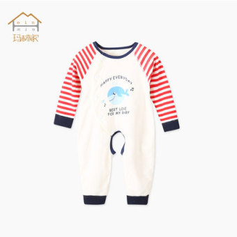 Baobao cotton Spring and Autumn thin crawling clothes baby coveralls