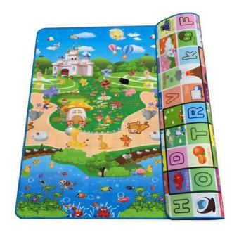 BAYM Large Baby Kid Toddler Crawl Play Game Letter Alphabet Mat PlayMat Gym Tiles for In/Out Doors Non-toxic Non-slip Reversible Waterproof 180 x 200 x 0.5cm 70.9 x 78.7 x 0.2 Inches Castle - intl