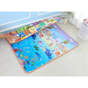 BAYM Large Baby Kid Toddler Crawl Play Game Letter Alphabet MatPlayMat Gym Tiles for In/Out Doors Non-toxic Non-slip ReversibleWaterproof 180 x 200 x 0.5cm 70.9 x 78.7 x 0.2 Inches Ocean - intl