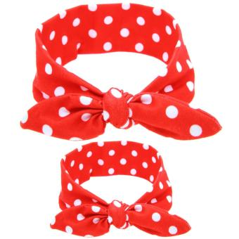 Bear Fashion 2pcs for Mother and Baby Head Wrap Hair Band HeadwearFor Toddler Infant Newborn Headband - intl