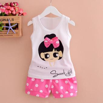 Bear Fashion Baby Sweet Girls Clothing Kids Summer Clothes 2pcs Set Suit - intl