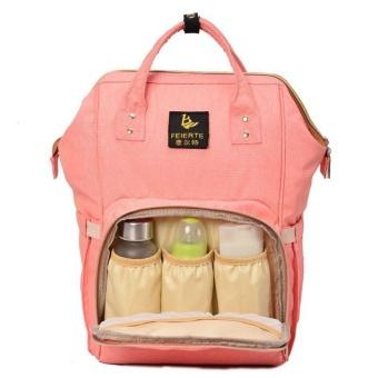Beau Large Capacity Backpack Mummy Bag Baby Water Feeding Bottle Diaper Bag Orange-pink - intl - 3