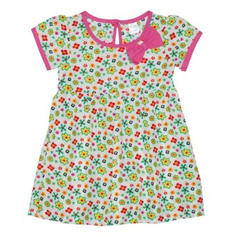 Bebe by SO-EN Infant's Dress with Sleeves and Ribbon (Green)