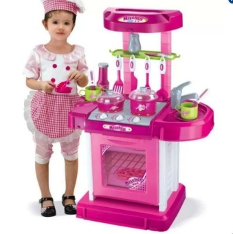 Best Quality Kitchen Cooking Toy Play set with Lights &Sounds(Pink)