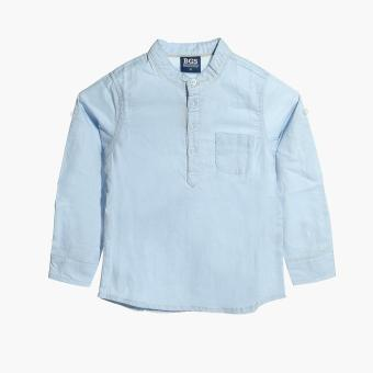 BGS Boys Mandarin Collared Long Sleeves Casual Shirt (Blue) Price Philippines