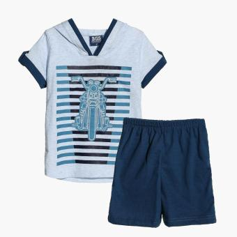 BGS Boys Motorbike Hooded Tee and Shorts Set (Blue) Price Philippines
