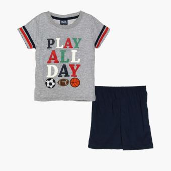 BGS Boys Play All Day Tee and Shorts Set (Gray)