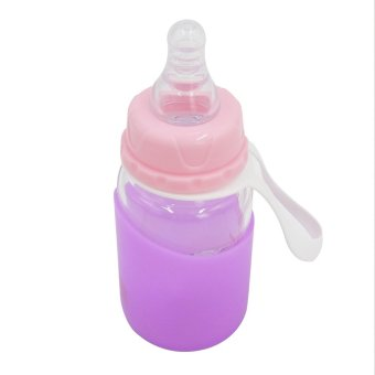 BIANLI 150ml Portable Baby Glass Feeding Bottle with Straw (Purple) - picture 2