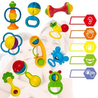 Big bottle Baby Toy Rattle Infant Teether Puzzle Educational(10Pieces) - 2