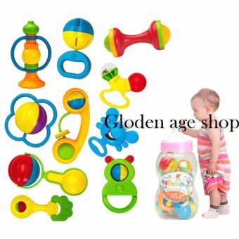 Big bottle Baby Toy Rattle Infant Teether Puzzle Educational(10Pieces)