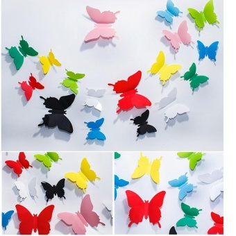 #BLACK 12pcs 3D Butterfly wall stickers refrigerator home decorSticker on the Art Wall decal Mural for creative vintage Homeappliances kids rooms - intl - 2