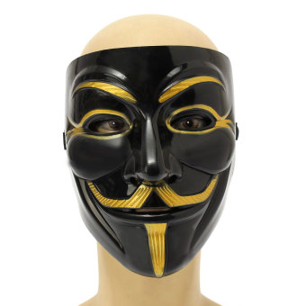 Black Anonymous Mask V for Vendetta Guy Halloween Men Cosplay Costume Collectors - 3
