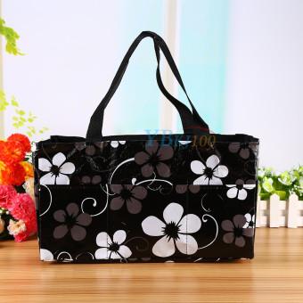 Black Waterproof Baby Changing Diaper Nappy Organizer Tote Floral Bag Handbag - intl - 4