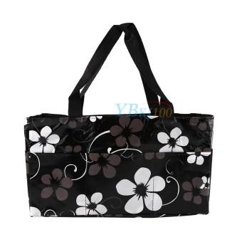 Black Waterproof Baby Changing Diaper Nappy Organizer Tote Floral Bag Handbag - intl - 2