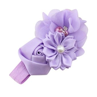 Bluelans® Chiffon Faux Pearl Headband (Purple) - picture 2
