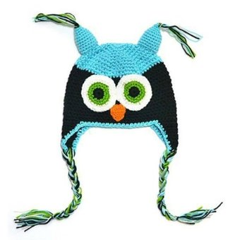 Bluelans Girl's Cute Toddler Knitted Crochet Owl Hat Blue Black - picture 2