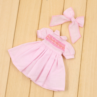 Blythe summer New style dress butterfly knot headband small cloth doll