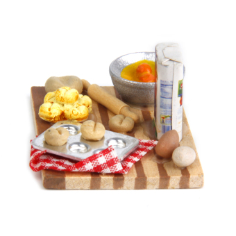 BolehDeals 1/12 Dollhouse Miniature Kitchen Food Eggs Milk Bread onBoard 1 Set - 2