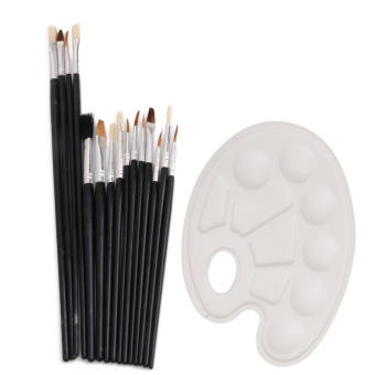 BolehDeals 15 PCS Artist Painting Brushes Palette Set for Acrylic Oil Painting