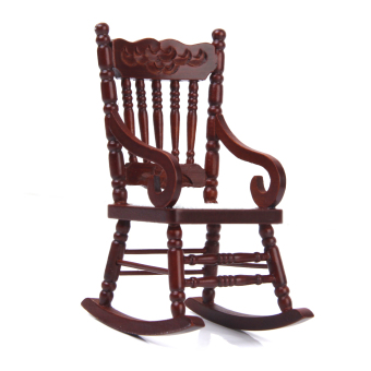BolehDeals Dollhouse Miniature 1/12 Wooden Rocking Chair Model Brown Price Philippines